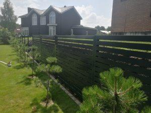 žaliuzinė vienpusės skardos tvora